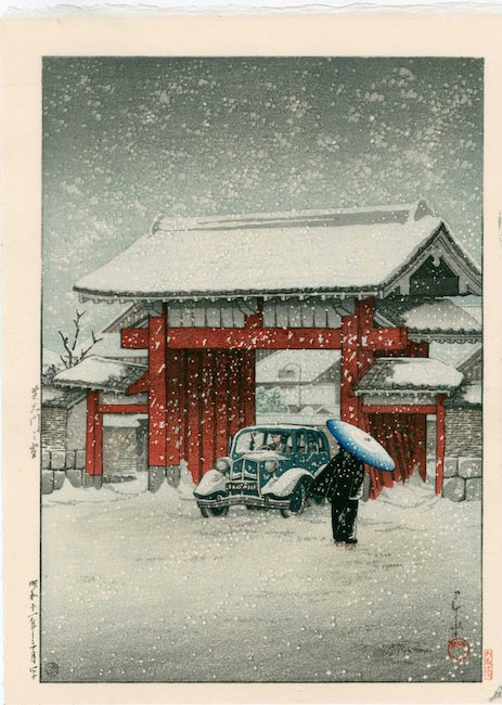Snow at Shiba Daimon by artist Hasui Kawase, 1936. Published posthumously by Watanabe. Sold for $280