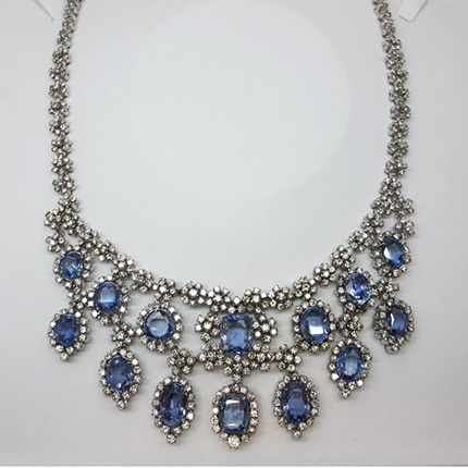 18k White Gold Sapphire Diamond Necklace