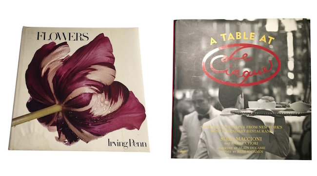 """Flowers"" by Irving Penn, First Edition. Estimate: $100-$200; ""A Table at Le Cirque"" by Sirio Maccioni and Pamela Fiori, signed Cookbook. Estimate $20-$20"