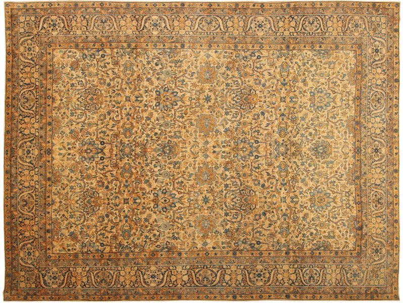 A virtual garden of richly articulated palmettes and vines spreads in repeated allover symmetry across the pale apricot ground of this lavish antique Kerman, Lavar. Size: 11 feet 9 inches by 15 feet 4 inches Sold for $14,950. Image courtesy of LiveAuctioneers.com and Nazmiyal Auctions
