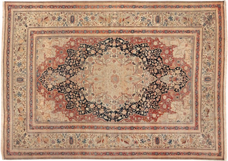 This late 19th century Mohtashem rug features a formal inset medallion woven in an elegant combination of colors. It measures 8 feet 6 inches by 11 feet 9 inches and sold for $44,000. Image courtesy of LiveAuctioneers archive and Nazmiyal Auctions