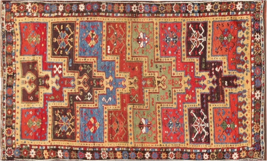 This Turkish Yuruk family prayer rug from the late 19th century is an example of a tribal rug. Measuring 4 feet by 7 feet, it sold for $4,800. Image courtesy of LiveAuctioneers archive and Nazmiyal Auctions