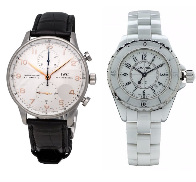 IWC Stainless Steel White Dial Chronograph Watch and Chanel Stainless Steel Ceramic Automatic Wristwatch featured in Jasper52 Auction on Sept. 18, 2016