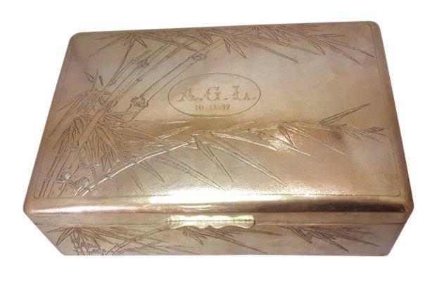 Chinese silver export humidor. Estimate: $1,000-$1,200