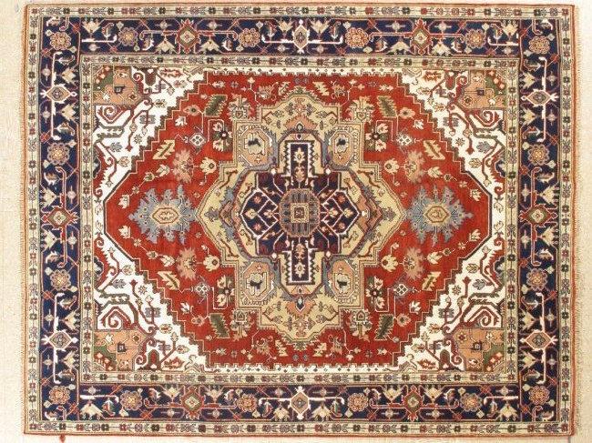 Geometric Serapi rug, 8 x 10 feet. Estimate: $1,000-$1,500