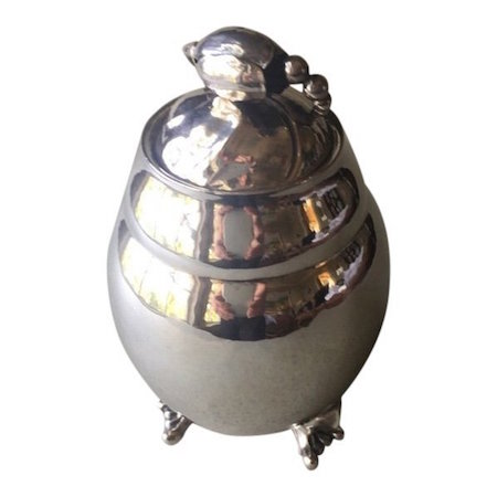 Georg Jensen sterling silver Blossom No. 2 tea caddy. Estimate; $3,200-$3,900
