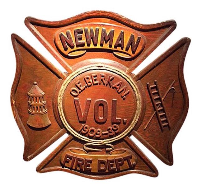 Twentieth century fireman's commemorative retirement plaque, circa 1940, shaped plywood, 23 x 23 inches. Estimate: $800-$1,500