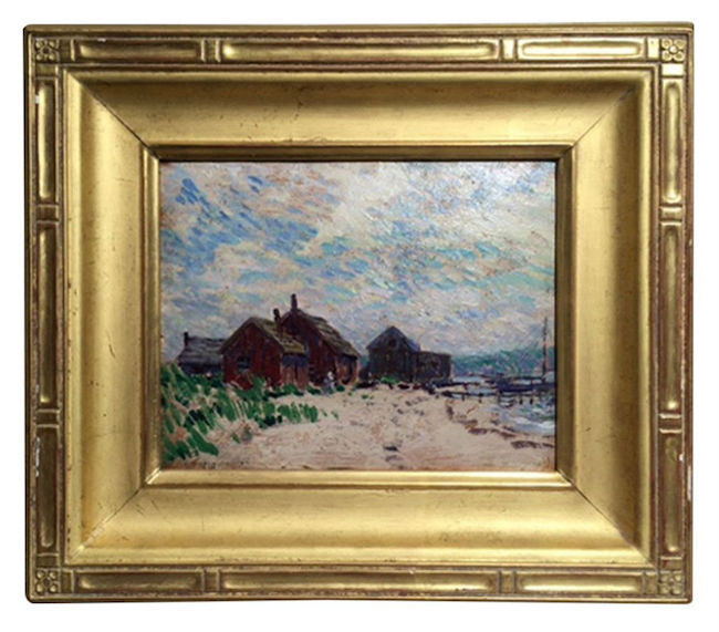 """Whitney Hubbard, """"Fish Houses,"""" oil on board, carved gilt frame, 14 1/4 x 16 inches framed, 8 inches x 10 inches board. Estimate: $500-$800"""
