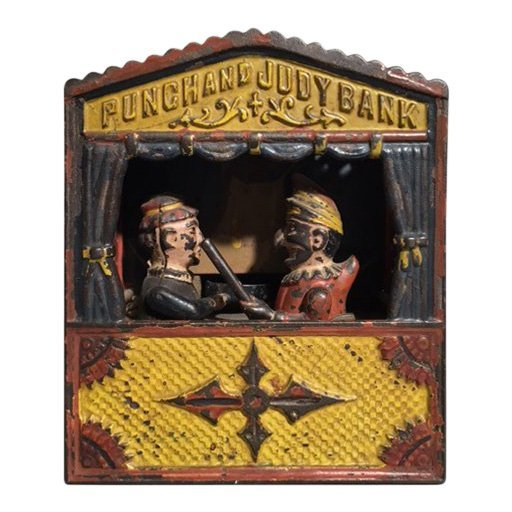 Punch and Judy mechanical bank, cast iron, late 19th century. Estimate; $500-$700