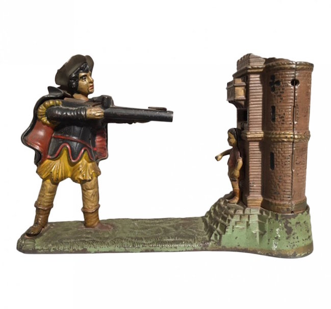 Rifleman, or William Tell, cast-iron mechanical bank, patented in 1896, 6 3/4 inches high x 10 1/2 inches wide x 4 inches deep. Estimate: $450-$600