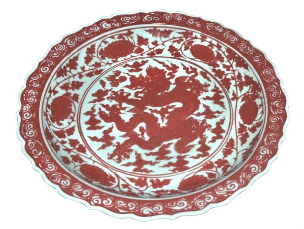 Ming-style red dragon plate. Estimate: $3,000-$4,000