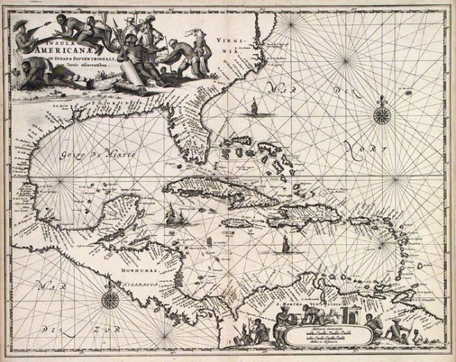 'Insulae Americanae in Oceano Septentrionali, cum Terris adiacentibus' follows the coastline from Chesapeake Bay to northern South America. Published by Arnoldus Montanus in Amsterdam in 1671. Estimate: $700-$1,200