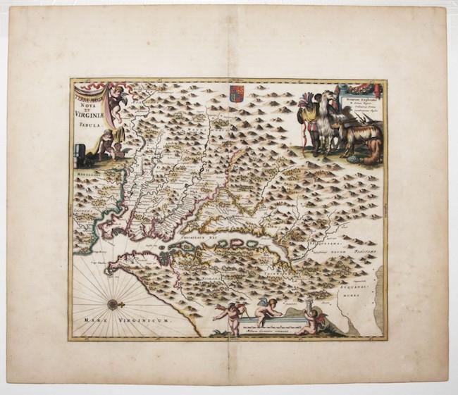 '(Terrae- Mariae) Nova (et) Virginiae Tabula,' 1671, based the Blaeu-Hondius engraving of the Capt. John Smith first survey of the Chesapeake Bay. Estimate: $1,000-$1,500