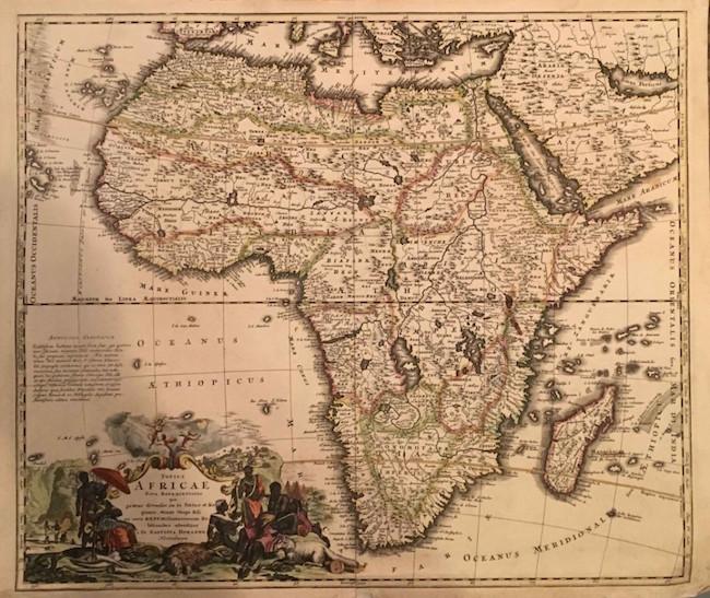 'Totius Africae' by Joseph Homann, 1715, original color copperplate engraving. Estimate: $200-$500
