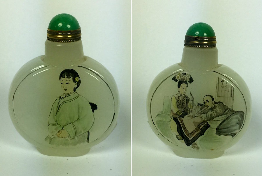 Painted White Agate Snuff Bottles, Est. $100-$200, Nov. 7 Jasper52 Sale