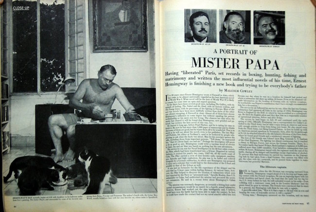 'A Portrait of Mister Papa,' by author Malcolm Cowley for Life Magazine, January 10, 1949. Estimate: $15-$30
