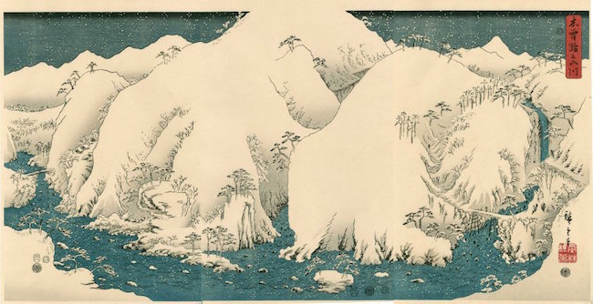 Kiso Gorge in Snow Triptych by Hiroshige, 1857. Estimate: $400-$500