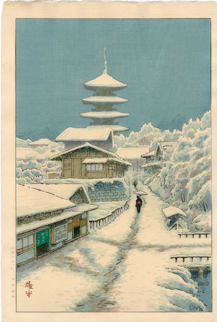 Kyoto in Snow by artist Ito Yuhan, 1930s. Sold for $425