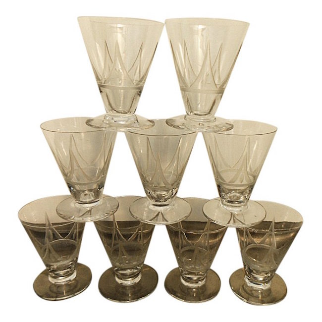 Set of 9 French Art Deco Etched Liquor Glasses, circa 1930. Sold for $120