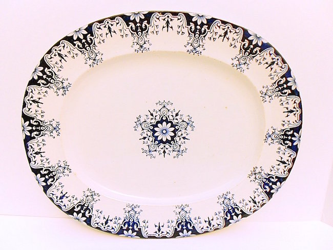 French Antique Blue Rouen Pattern Faience Meat Platter, circa 1900. Estimate: $100-$150