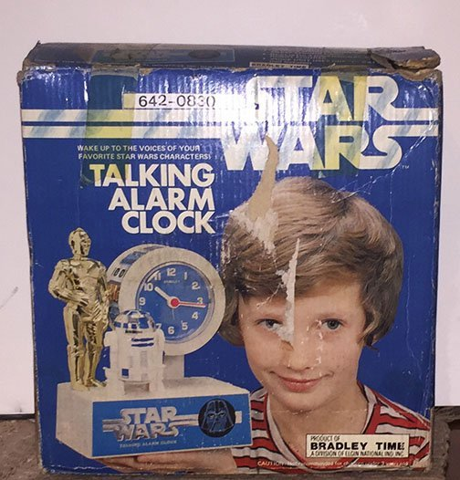 Star Wars talking alarm clock by Bradley Time, mint in the box with instructions. Estimate: $200-$300