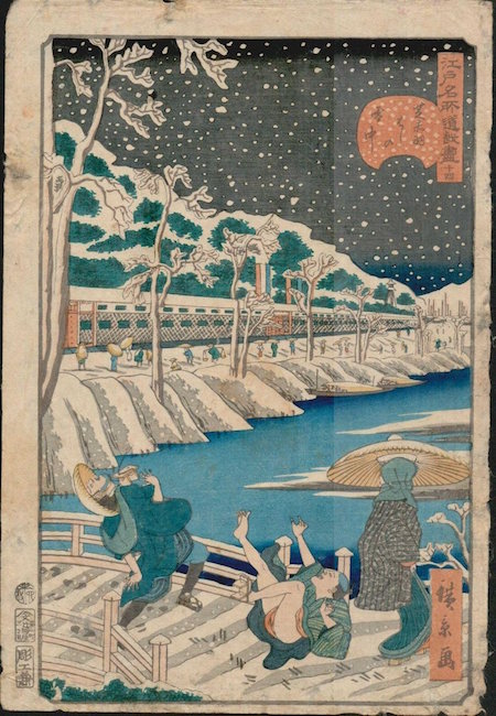 Falling in Snow by artist Utagawa Hirokage, 1860. Estimate: $200-$300