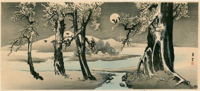 Winter Landscape with Crows by artist Yamamoto Shoun, 1900-1910. Sold for $160