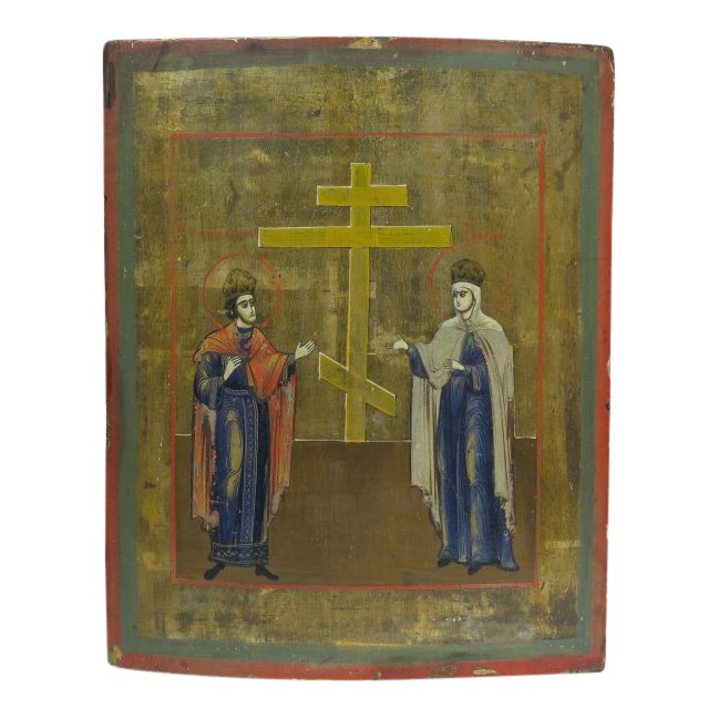 'Saints Elena and Constantine presenting the True Cross,' central Russia, circa 1860. Estimate: $400-$600