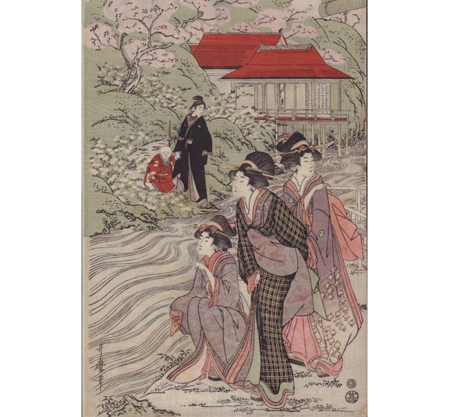 Kitigawa Utamaro, 'Beauties by River before Cherry Blossoms,' 1800, Oban design, 10 x 15.5 inches. Estimate: $1,500-$2,000