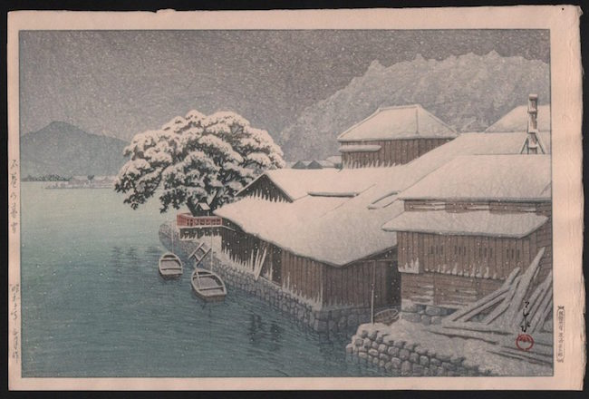 Kawase Hasui, 'Evening Snow at Ishonomaki (Ishinomaki no bosetsu),' 1935, Oban design 10 x 15.5 inches. Estimate: $2,800-$3,200
