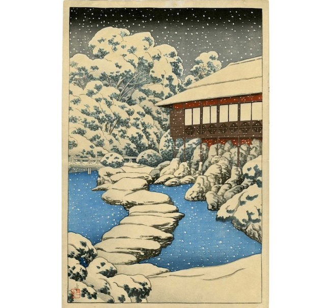 Hasui Kawase, 'Snow at Pond's Edge,' 1920, published by Watanabe from the series Mitsubishi Villa at Fukugawa, pre-earthquake edition. Estimate: $5,000-$6,500