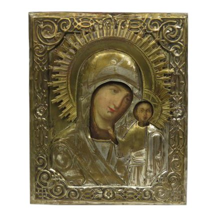 'Our Lady of Kazan,' egg tempera and and gesso on wood with silvered oklad, circa 1880. Estimate: $600-$800