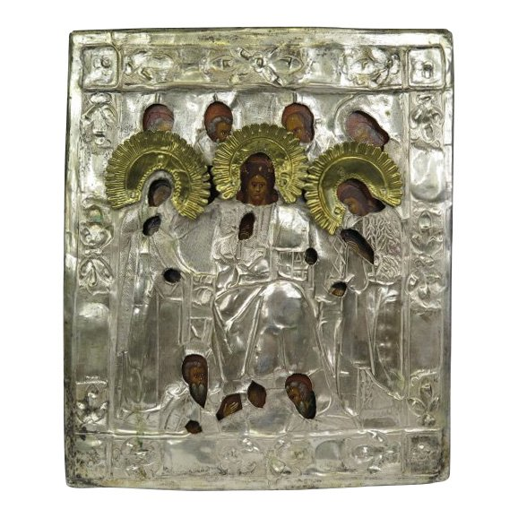 'Savior of Smolensk,' egg tempera and and gesso on wood with silver-plated brass oklad, central Russia, circa 1880. Estimate: $600-$800
