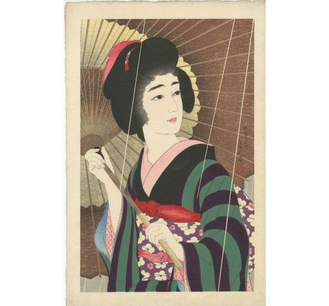 Torii Kotondo, 'Rain,' 1930, 11.75 x 18 inches, published by Sakai and Kawaguchi with first edition seal, numbered 104/200, embossed title in bottom margin. Estimate: $6,000-$8,000