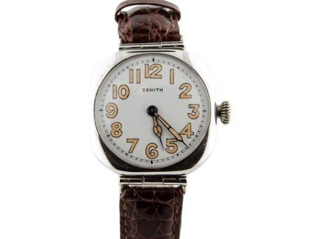 Zenith Swiss-made wristwatch, sterling silver case, 1918, porcelain dial. Estimate: $2,000-$2,500