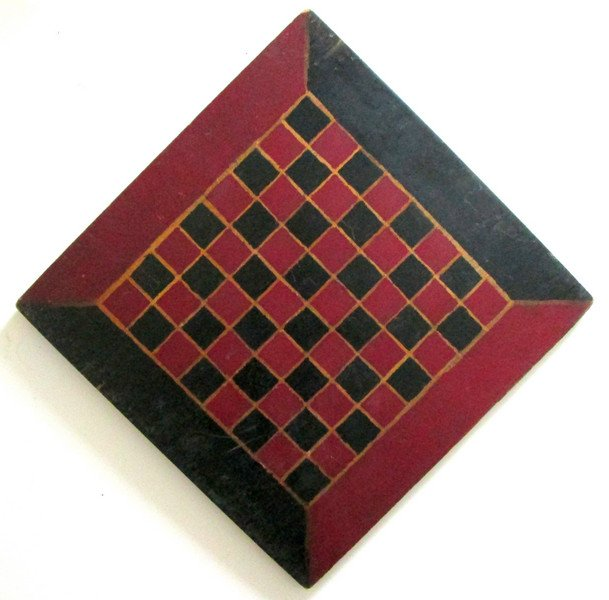 Handmade Painted Checkerboard, Mid-late 19th century. Estimate: $250-$500