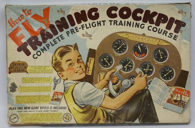 How to Fly Cockpit Pre-Flight Training Course Game, by maker: Einson-Freeman Co., Inc., 1942. Sold for $120