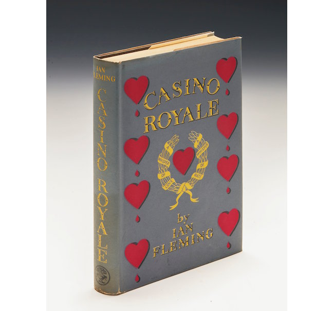 Casino Royale, Ian Fleming, Jonathan Cape 1953, First Edition, Author's Presentation copy, inscribed on front endpaper, marks the first appearance of the character James Bond, sold for $52,344 at Sotheby's July 12, 2016 auction.