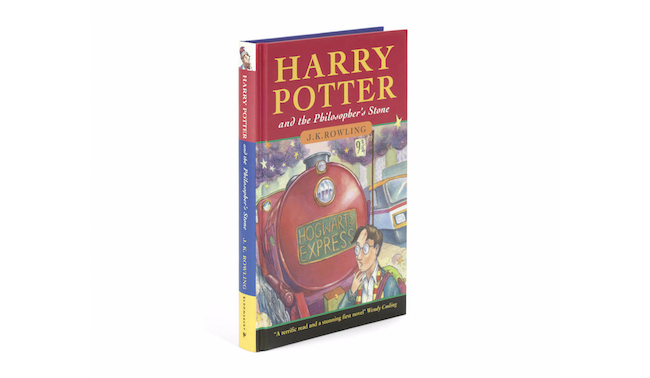 Harry Potter and the Philosopher's Stone, J.K. Rowling, Bloomsbury 1997, First Edition, First Issue (With an error found on page 53 — duplicate listing for '1 wand' in the list of Hogwarts school supplies), sold for $55,628 at a Nov. 9, 2016 auction at Bonhams. The final price was more than double the high estimate.