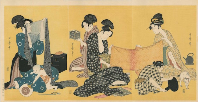 Women Sewing, Triptych, by Kitagawa Utamaro, late 18th century. Sold for $280. Image courtesy of LiveAuctioneers