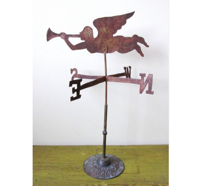 Gabriel Blowing Horn weather vane, circa 1900-1920, rolled sheet iron on brass stand. Jasper52 image