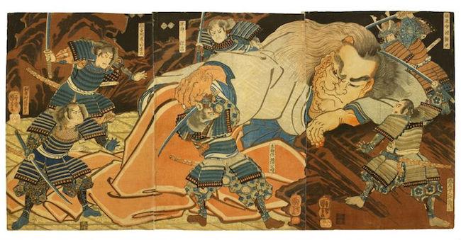 Utagawa Kuniyoshi, 'Minamoto no Yorimitsu and Shuten-doji,' triptych, 19th century. Estimate: $4,000-$6,000