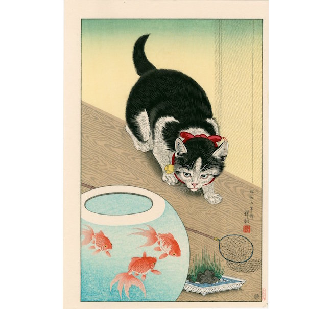 Cat Watching a Goldfish, 10½ by 15½ inches. Sold for $440. Image courtesy of LiveAuctioneers