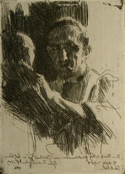 Anders Zorn, 'Prince Paul Troubetzkoy II,' etching, signed in pencil, 1909, edition 30-50. Estimate: $1,500-$1,800