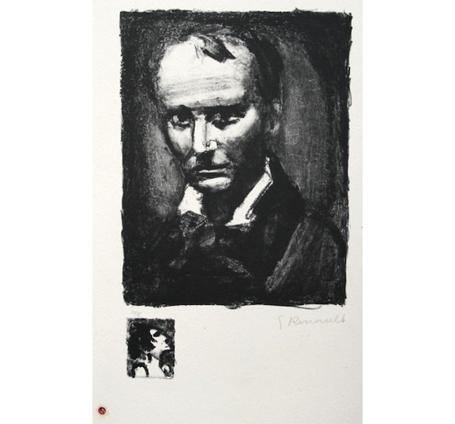 Georges Rouault, 'Baudelaire,' wash and lithographic crayon, 1926. Estimate: $1,200-$1,500