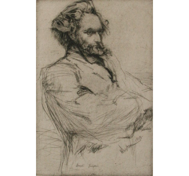 James Abbott McNeill Whistler, 'Drouet, Sculpteur,' drypoint, 1859. Estimate: $1,500-$1,800