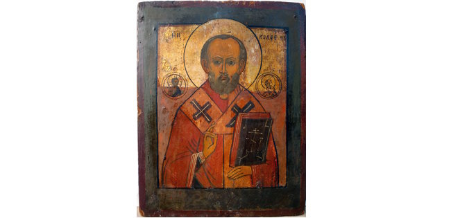 Saint Nicholas, the Wonderworker of Myra, icon painting village of Kholui, Russia, 12 in x 9 in (30 cm x 23 cm). Egg tempera and silvering on gessoed wood. $700. Dennis Easter image