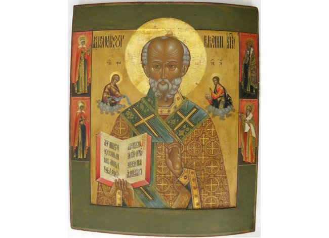 St. Nicholas of Myra with vita, the Evangelists and four border saints - S. Prince Michael, St. Gregory, St, Catherine and St. Justinia, ca. 1870s, icon painting village of Palekh, Russia. 20 1/2 in x 17 in (52 cm x 43 cm). Dennis Easter image