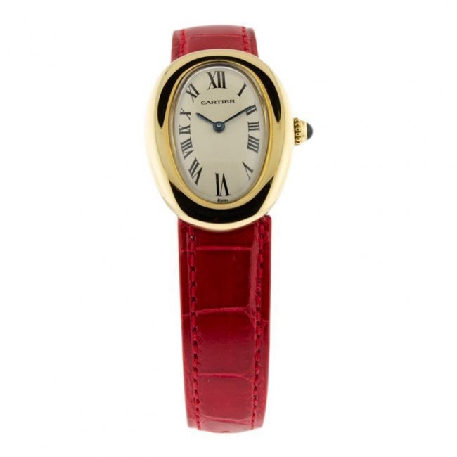 Cartier curved case watch, Model 0211, 18K solid gold, circa 2006. Estimate: $4,000-$5,000
