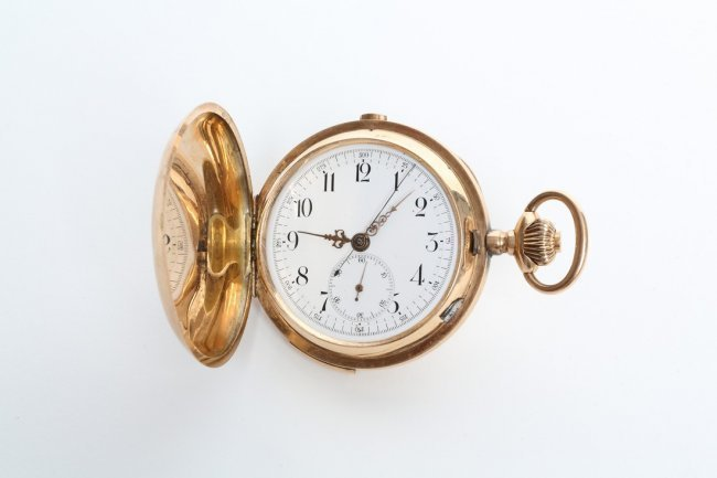 Repeater pocketwatch, 14K gold, white porcelain dial, 1890s. Estimate: $3,000-$3,500